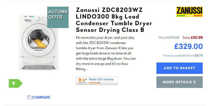 Discounted Zanussi tumble dryer
