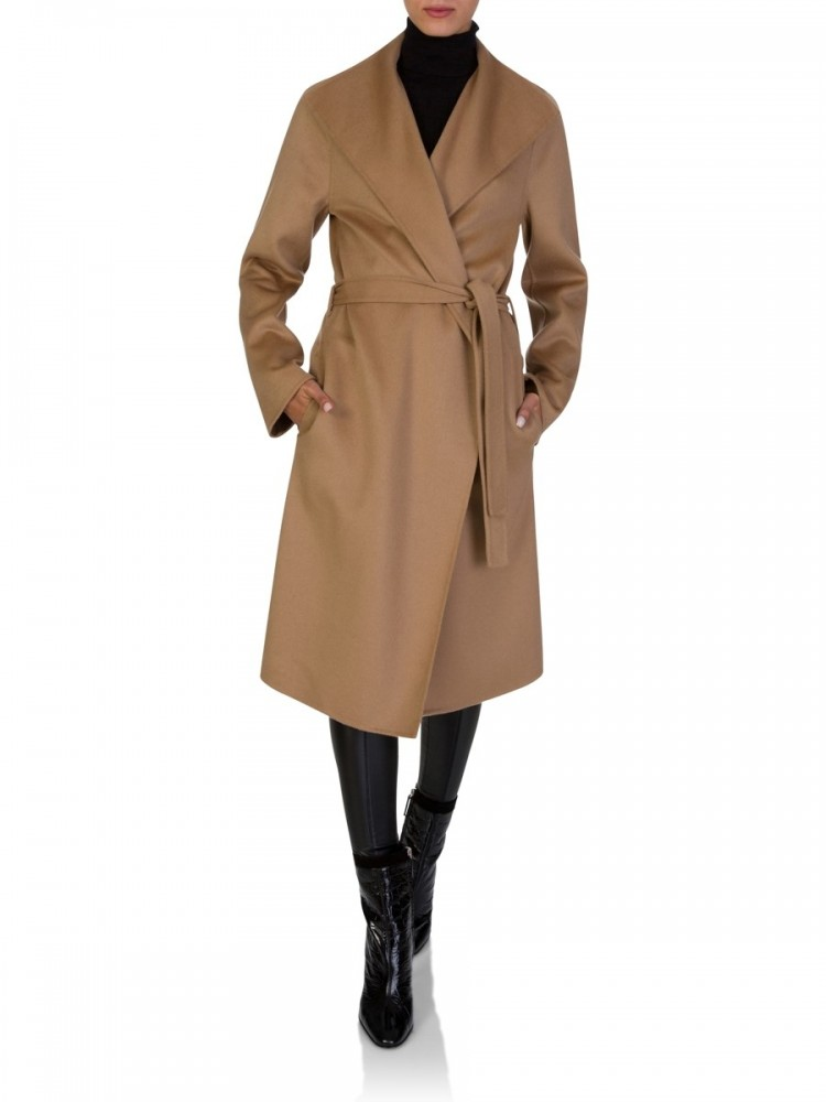 Joseph Brown Lima Tie-Waist Wool-Blend Coat in beige.