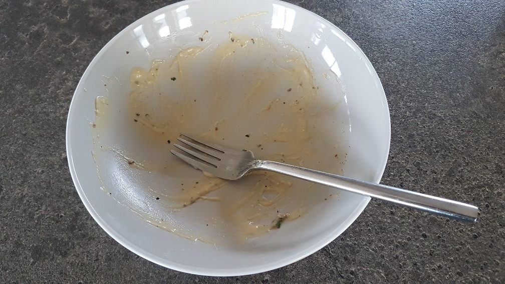View of our empty plate after eating the delicious Waitrose Vegan Mushroom Carbonara