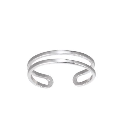 Adjustable double band silver ring