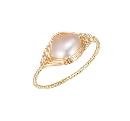 Pearl gold plated ring